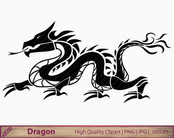 Dragon clipart, chinese dragon tattoo clip art, china graphics, scrapbooking, commercial use, digital instant download, png jpg 300dpi