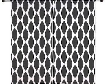 Chiffon Curtains - Girls Curtains - Bedroom Curtains - Sheer Curtains - Dorm Room Curtains - Teen Curtains - Teen Decor - Black and White