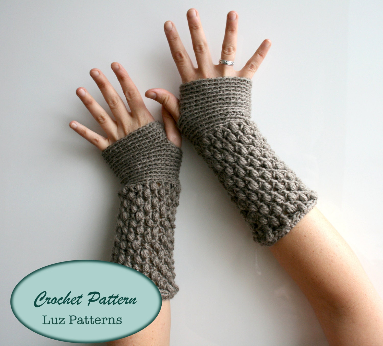 Crochet Patterns, girl and women fingerless glove pattern, wrist ...