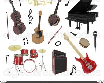 Instrument Clipart, Orchestra Clip Art, Musical Concert Image, Music Symphony Graphic, Saxophone, Trumpet, Piano, Stage Mic Digital Download