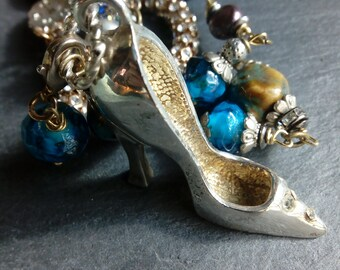 shoe necklace, assemblage, wearable art, vintage necklace, upcycled, reinvented, repurposed, precious bits and pieces, unique statement,