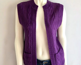 Vintage Women's 70's Boho Sweater Vest, Purple, Sleeveless, Acrylic by Kenneth Too (S)