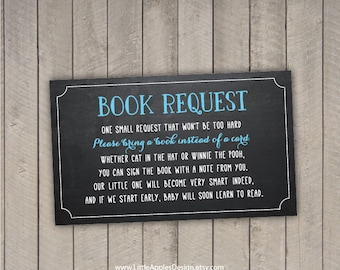 bring a book instead of a card / bring a book baby shower insert / book request / chalkboard boy blue / PDF / INSTANT DOWNLOAD