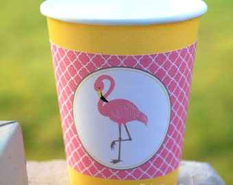 Flamingo Tickled Pink Cup Sleeve Wrapper | Printable | Instant Download | Birthday | Baby Shower | Tropical