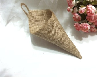 10 pcs Wedding decoration country , Rustic home decoration ,Hanging burlap Basket  Pew Cone  wall organizer