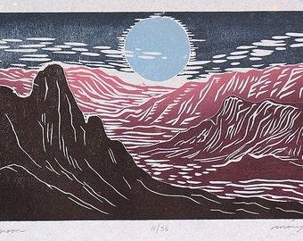 Blue Moon Color Puzzle Woodcut Southwest Landscape Purple Mountains