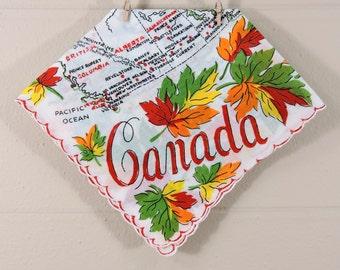 Vintage Canada Hankie / Canada Hankerchief / Canada Travel Hankie