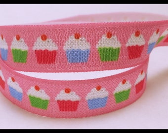 """Cupcakes Pink Colorful Baked Goods Sweet Print FOE Ribbon  5/8"""" Hair Bow , Accessories AZ394"""
