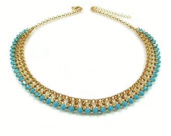 Turquoise Statement Necklace gold, Gold Egyptian Necklace, Genuine Turquoise Necklace, Turquoise bib necklace, Choker necklace Egypt