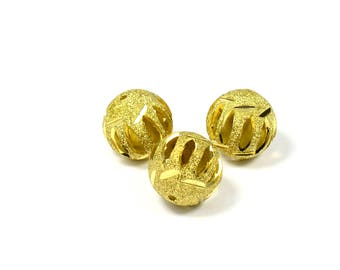 2 Pcs. Raw Brass 17 mm Textured Round Brass Bead