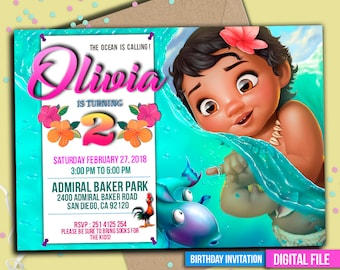 Baby Moana Invitation, baby Moana Invitation, Moana summer invitation, baby Moana party, baby Moana Party Invite, Any age. M043