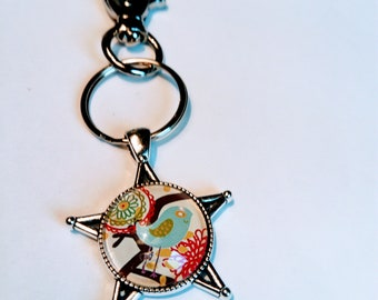 Key ring, cabochon, designer pattern, bird, nature, modern, chic, silver, original gift, mother's day, Christmas, art, jewelry bag, woman
