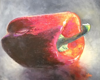 "Kitchen Art, Red Pepper Still Life, Palette Knife Painting, ""Big Red"" by Carol Schiff, 20x24"" Oil, Free Shipping in US"