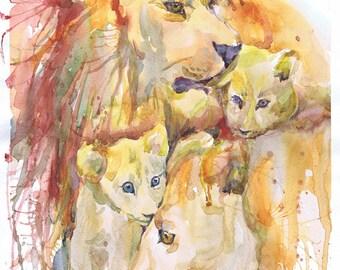 Lion nursery decor, watercolor painting, safari animal, lion art, lionet art print, lion family, lion print, lion illustration,  modern art