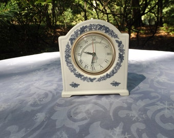 Mantle porcelain clock Ornate floral blue decoration.White.Tested and works perfect. mint home decor gift Tested works Library