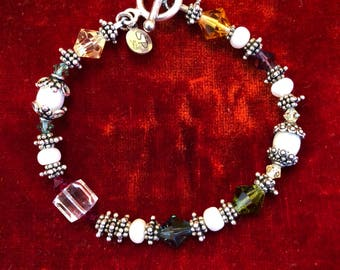Colorful Bead and Silver Bracelet