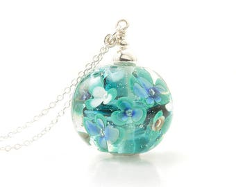 Flowers Glass Necklace | Long Floral Pendant with Handmade Glass Globe and Sterling Silver | UK Lampwork Jewellery