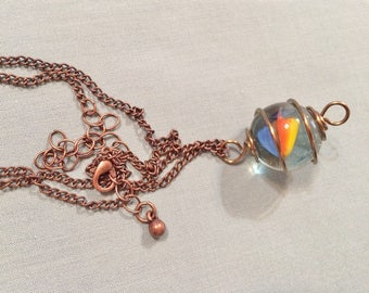 Bronze Wire Caged Marble Pendant Necklace #20022
