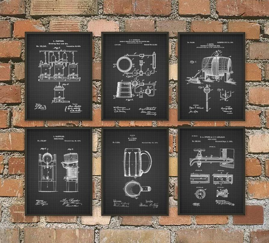 Beer Brewing Patent Prints Set Of 6 Beer Poster Beer Art