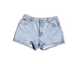"CK shorties   Calvin Klein light wash denim jeans 90s vintage short shorts 30"" waist womens high waist large L 9 10 12"