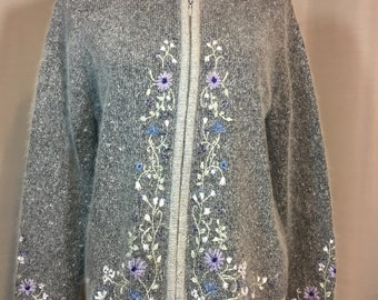 Gray Tweed Silk/Angora Blend Cardigan Sweater with Zipper Purple & Blue Embroidered Flowers Glass Beads Medium Previously 28 Dollars ON SALE