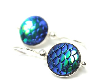 Blue Green Mermaid Dangle Earrings Classic Iridescent Cobalt Teal Aqua Dragon Scales 12mm Sterling Silver Kidney Scalloped Round Waves Rain