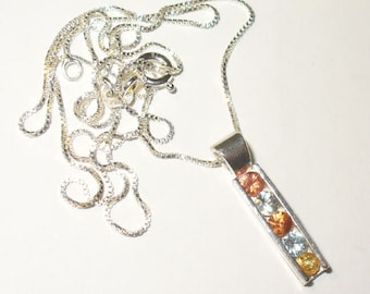 Channel-Set Fancy Sapphire Pendant Necklace - Genuine Gemstones in Solid Sterling Silver