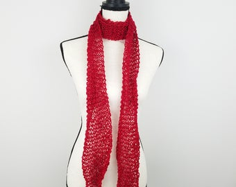 Red Skinny Fashion Scarf Hand Knit Long Lightweight Scarf Red Sparkle Choker Scarf