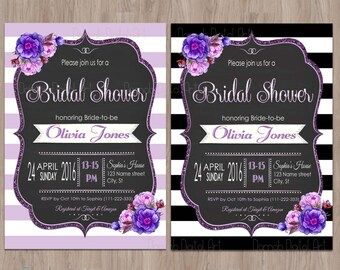 Purple bridal shower invitation, bridal shower invitation purple, Purple Bridal Shower Invite, Floral Bridal Shower Invitation, Shabby Chic