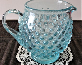Aqua/Blue Hobnail Pitcher, Gorgeous Little Mid-Century Glassware