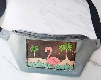 flamingo Leather Fanny Pack Leather hip Bag Festival Accessories gift for her