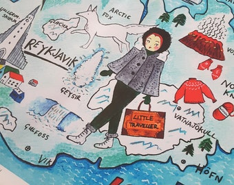 Illustrated Map of Iceland, A4...Epson Matte Art Print...