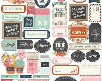 Pebbles Happy Day Phrase Stickers