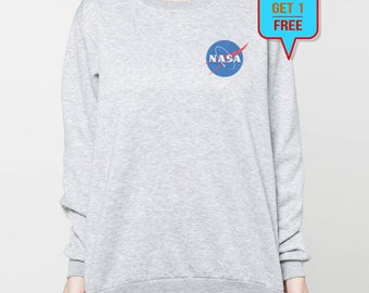 Nasa sweatshirt shirt pocket graphic sweater tshirt tee jumper t-shirt long sleeve S M L XL grey