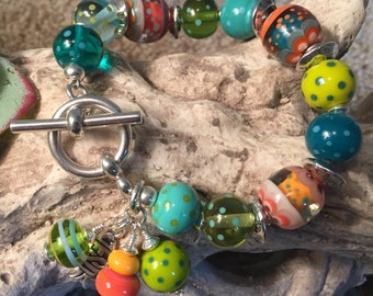 ABUNDANCE, artisan lampwork and sterling silver bracelet