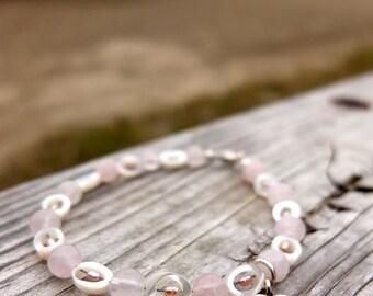 Lovely, Rose Quartz, Shell and Mother of Pearl Charm Bracelet