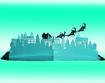 Christmas Village Pop Up card template