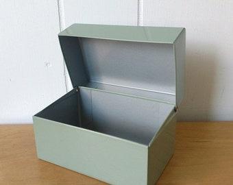 MEMORIAL DAY SALE vintage gray green recipe file box