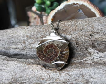 Natural Ammonite Necklace - REAL Fossil Jewelry - Fossilized Ammonite Jewelry - Opalized Fossil Necklace - Bohemian Necklace - Boho Jewelry