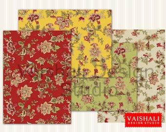 Patrones jacobeas, multicolor, patrón, 4 hojas, impresiones digitales