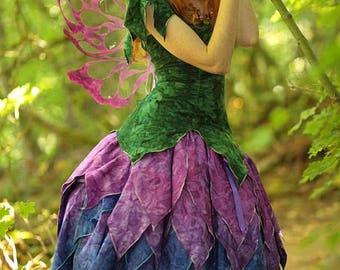 Dahlia Fairy Dress, Adult Fairy Costume, Elvish Clothing, Festival Outfit, Theater Costume, Halloween Costume, Renaissance Costume, Faery