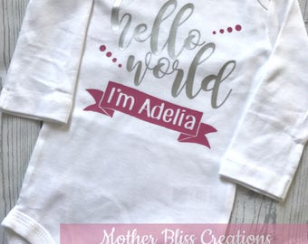 "Handmade, Personalized ""Hello World"" One Piece Bodysuit Baby Shower Gift 