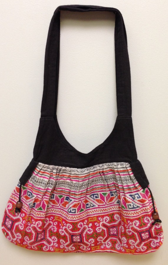 Chinese Bag Hmong Embroidered Purse Hill Tribe Handmade Embroidered Shoulder Bag Purse Hand Woven Colorful Gift for Her One of Kind Tribal