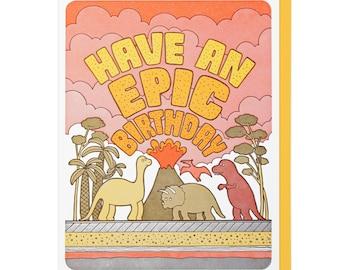 Epic Birthday Dinos Letterpress Card