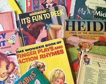 Vintage Children's Book Boards 6ct lot- 1950's-1960's - Art - Ephemera