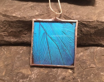 Real Butterfly jewelry, handmade butterfly pendant, handmade real butterfly jewelry, butterfly Wing Necklace, Blue Morpho Pendant