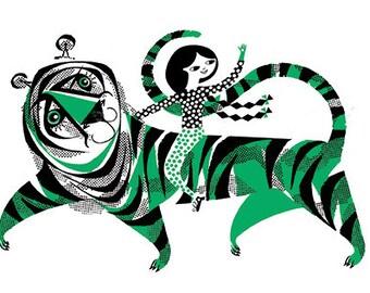 Green Tiger Tea Towel