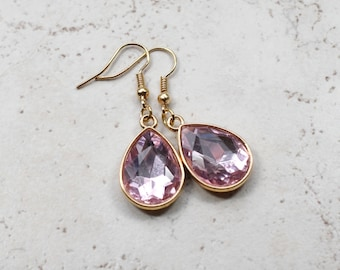 Millennial Pink Jewel Earrings, Pastel Pink Rhinestone Teardrops, Estate Style Jewelry, Gold Dangles