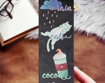 Rain Cats Cocoa and Books Bookmark, Reader Love Bookmark, Cozy Things, Favorite Things