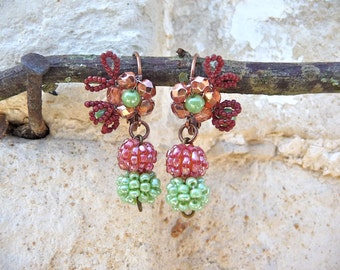 Fruits de la foret exquisite tiny Antique glass beads earrings